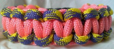 Paracord Bracelet Skater Inspired Pink Purple Yellow Cobra | eBay