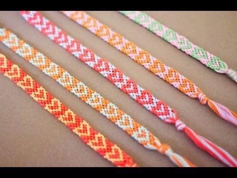 7421e0972054 Pulsera de corazones de hilo hechas a mano - Como hacer pulseras de la a.