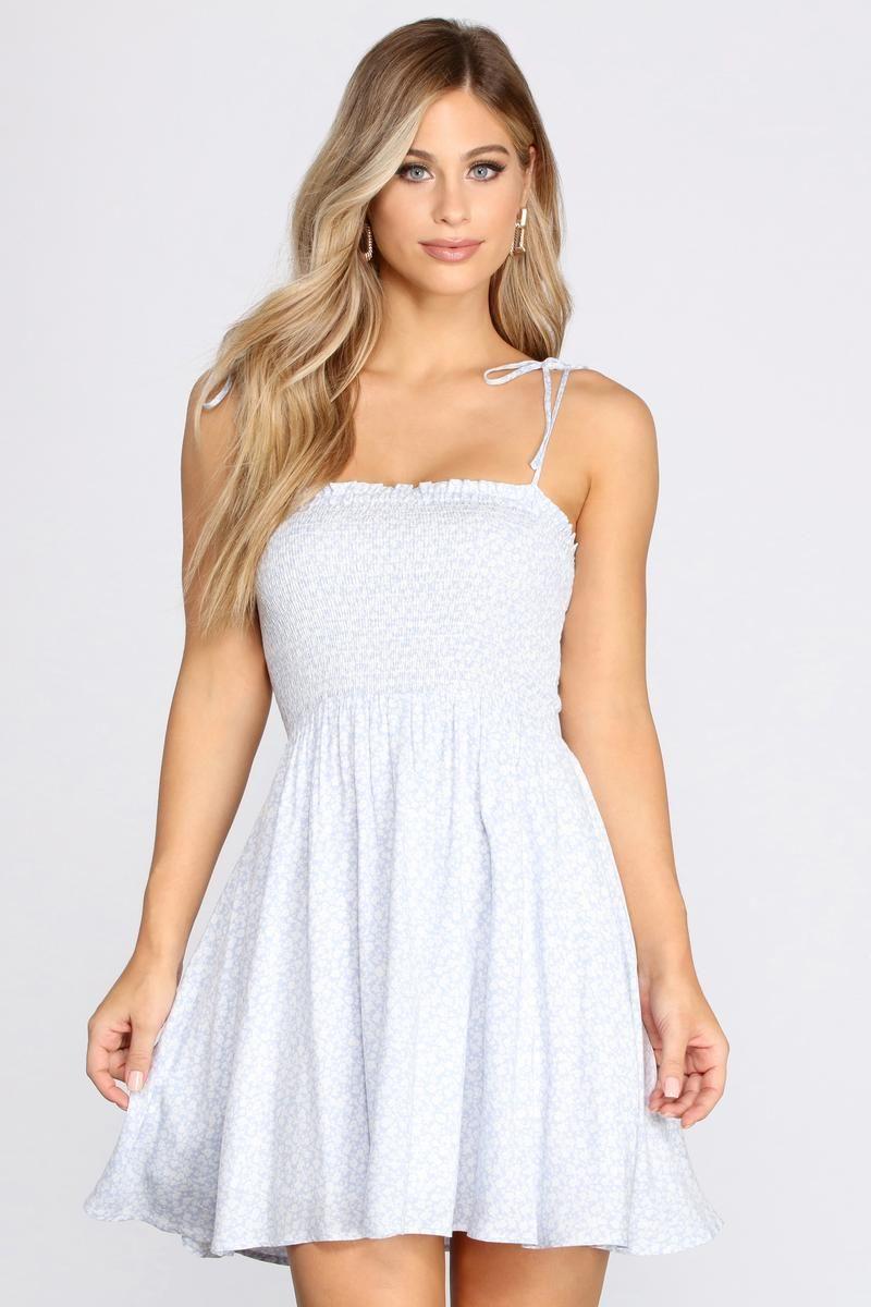 Floral Bloom Smocked Mini Dress In 2021 Flowy Mini Dress Mini Dress Dresses [ 1200 x 800 Pixel ]