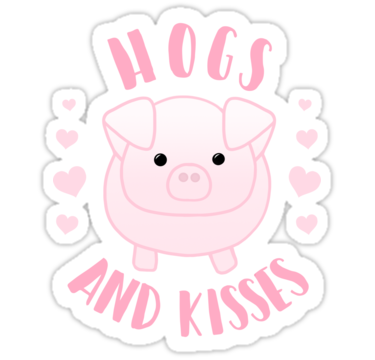 Hogs And Kisses Pig Pun Valentines Day Anniversary Sticker Valentines Day Puns Valentines Puns Punny Valentines