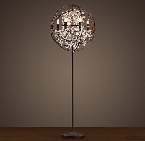 Foucault's Iron Orb Crystal Floor Lamp Rustic Iron | Crystal ...