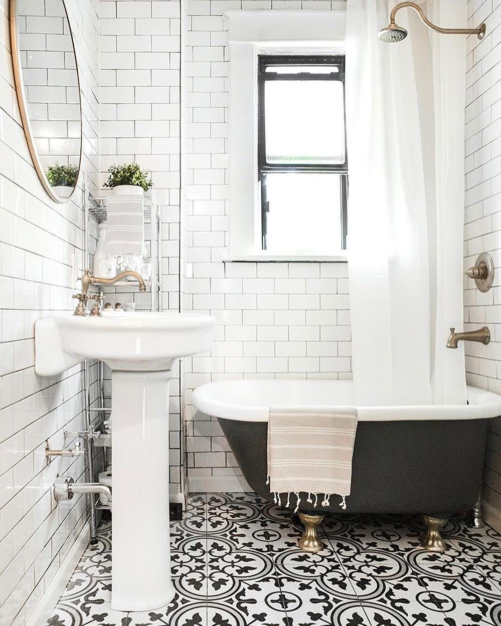 A Simple Bathroom Design With A Beautiful Tile Pattern To Add Some