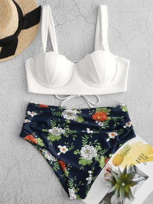 ZAFUL Floral Print Push Up Seashell Tankini Set   LAPIS BLUE #vintageswimwear Th... 1