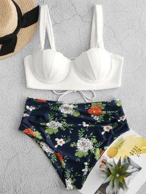 ZAFUL Floral Print Push Up Seashell Tankini Set   LAPIS BLUE,#Floral #lapis #pri... 17
