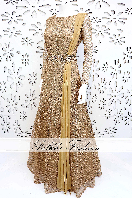 Palkhifashion exclusive astounding gold designer gown dresses
