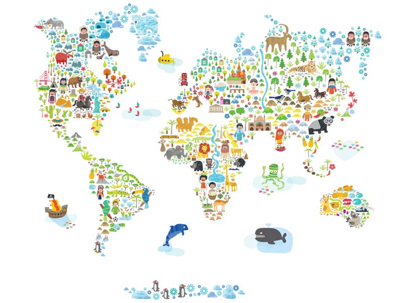 Worksheet. 40 Creative Remakes of The World Map  Kids rooms Wall decals and
