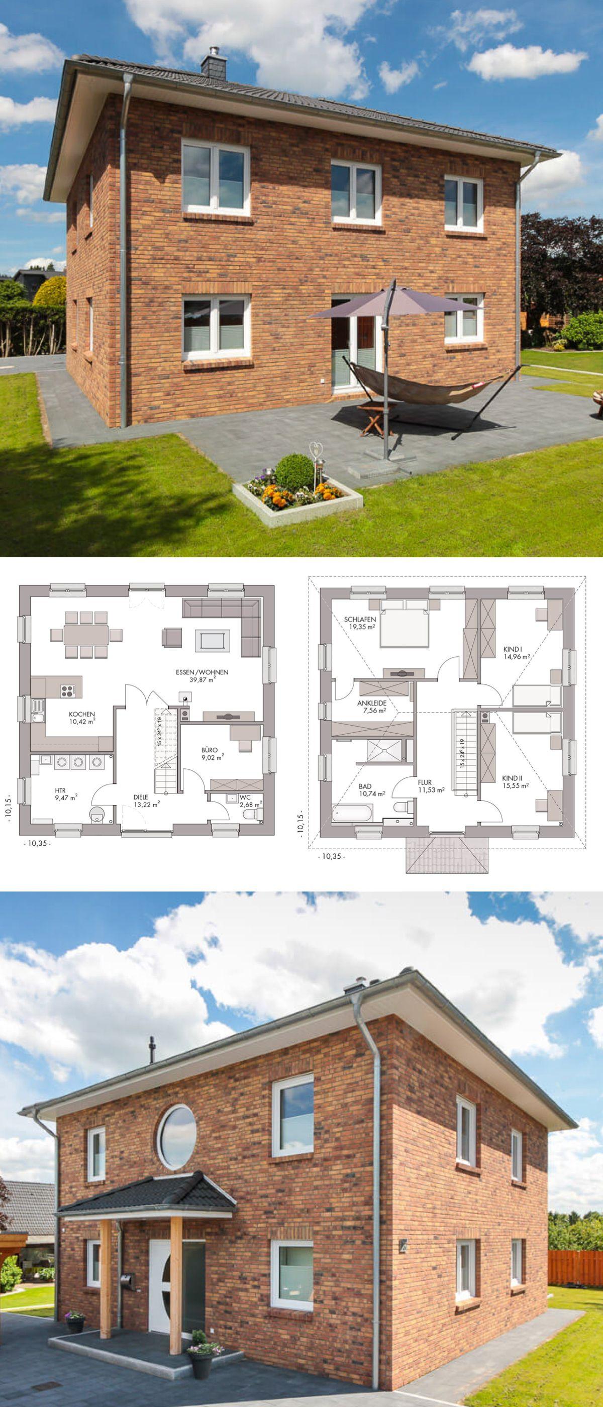Stadtvilla modern mit klinker fassade walmdach for Massivhaus modern