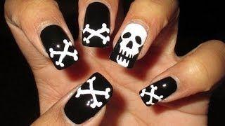 Skull & Crossbones Halloween Nail Art Tutorial