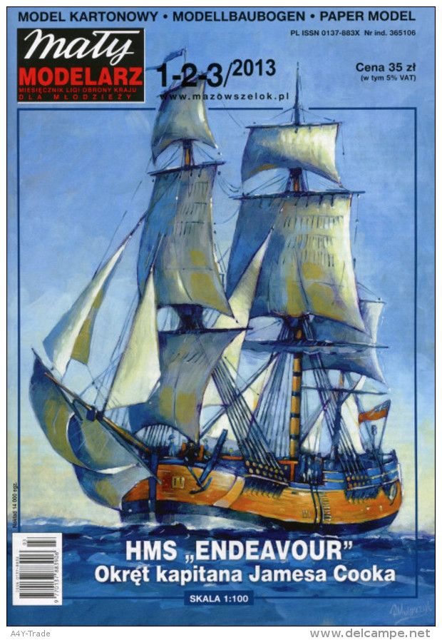 HMS ENDEAVOUR James Cook's Ship - Paper / Card Model Scale 1/100 by