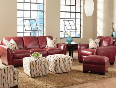 Uptown Living Room Rich Leather Furniture In Salsa Red