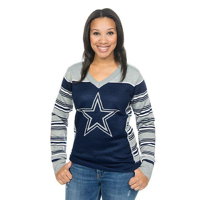 b88078f04df Dallas Cowboys Womens Lorex Thread V-Neck Ugly Sweater | HO Li Days ...