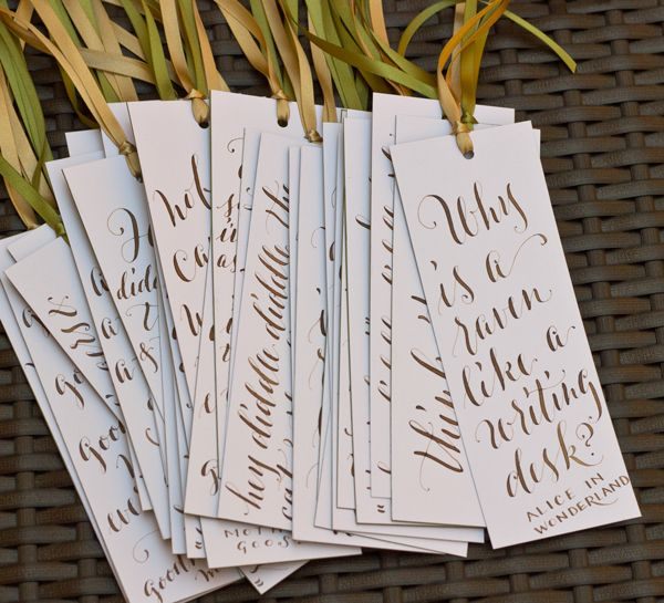 From Plurabelle Calligraphy, great idea for baby shower favors - book writing