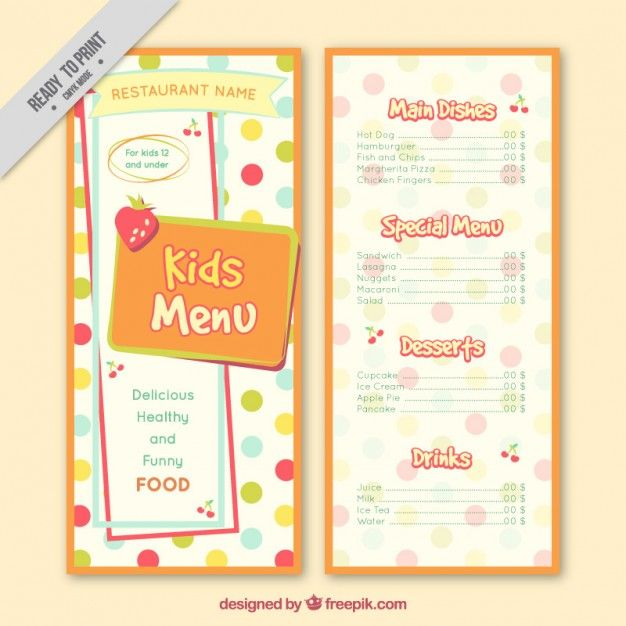 Dotted kids menu template Free Vector MY FREEPIK THINGS - free kids menu templates