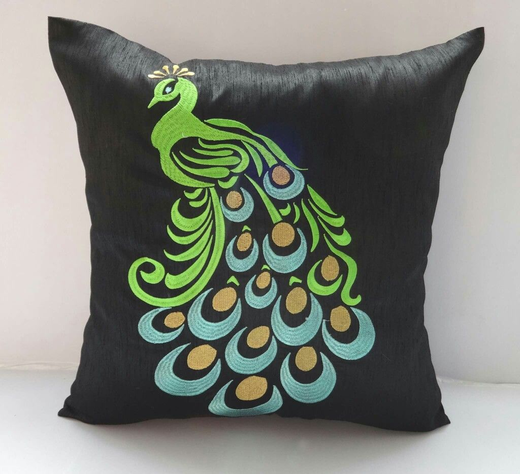 Green \u0026 Gold Peacock embroidery on Black Pillow cover- 18 inch- stock ready to ship & Fabric paint peacock designs | Fabric painting | Pinterest ... pillowsntoast.com