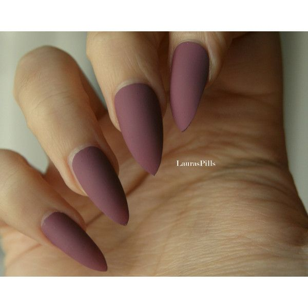 Dark Mauve Stiletto False Nails Matte Or Glossy Mauve Pink Fake 9 Liked On Polyvore Featuring Beauty Products Dark Pink Nails Mauve Nails Trendy Nails