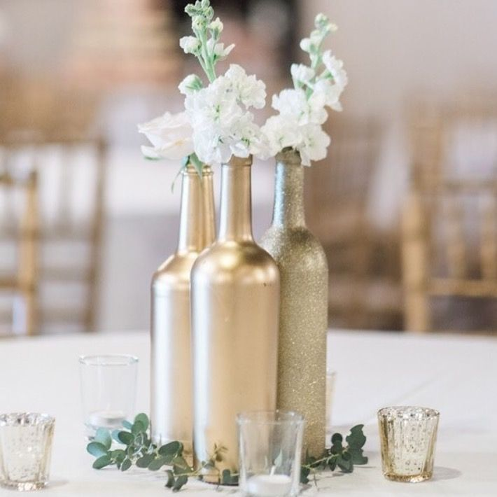 Centerpiece inspiration spray paint rose gold i do for Gold wine bottle centerpieces