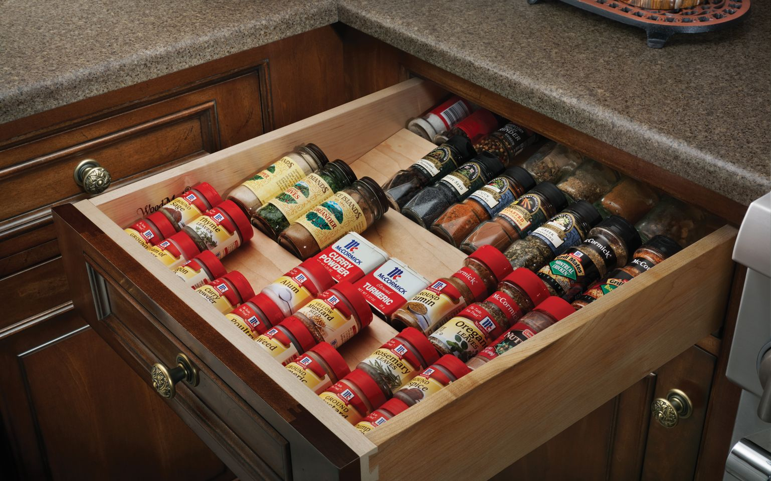 Spice Drawer Insert Wood Mode Fine Custom Cabinetry Kitchen Cabinet Storage Kitchen Cabinets Storage Organizers Spice Storage Drawer