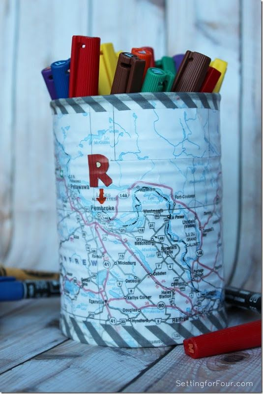 Easy Map and Washi Tape Pen Holder tutorial - monogram your kids name on their city of birth! www.settingoforfour.com