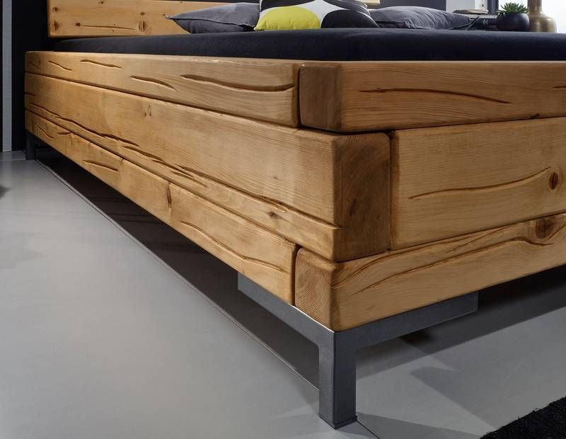 Balkenbett Landhausstil Aus Fichte Holz Lackiert Eichefarbig Bett Bettrahmen Ideen Bett Bauen