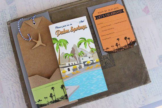 Palm Springs Travel Brochure Wedding Invitation California Design Fee