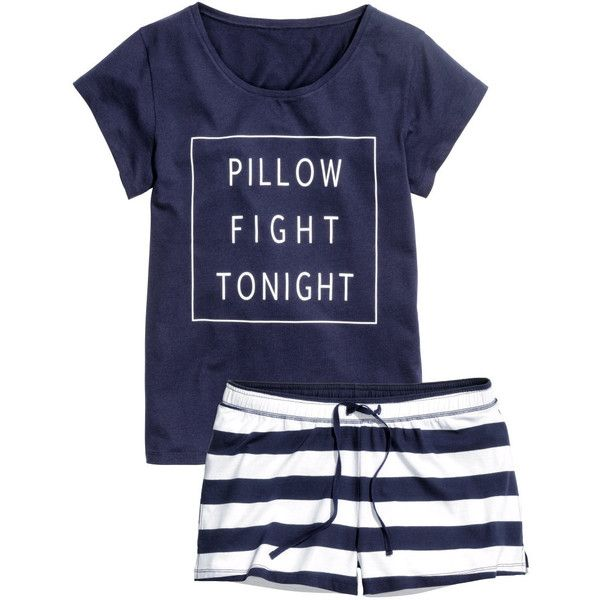 H&M Jersey pyjamas ($20) ❤ liked on Polyvore featuring intimates, sleepwear, pajamas, pijama, underwear, outfit, dark blue, h&m, jersey knit pajamas and short sleeve pajamas