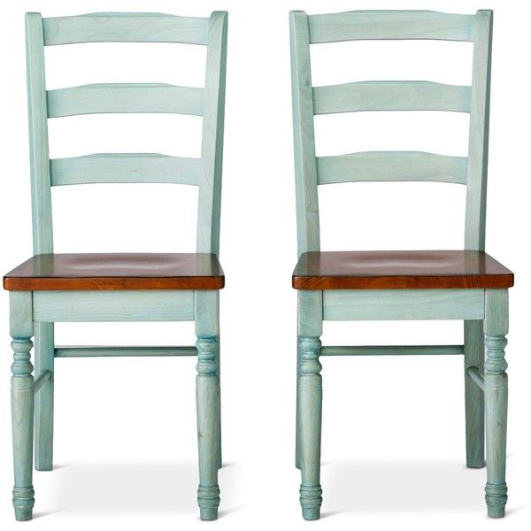 Mulberry Two Tone Distressed Dining Chairs 144 Liked On Polyvore Featuring Home Furniture Weathered Teal Colored