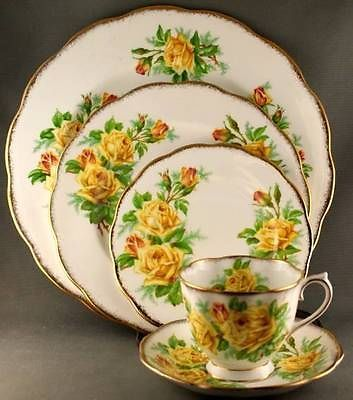 royal albert tea rose | Details about Royal Albert Yellow Tea Rose 5 Piece Place Setting