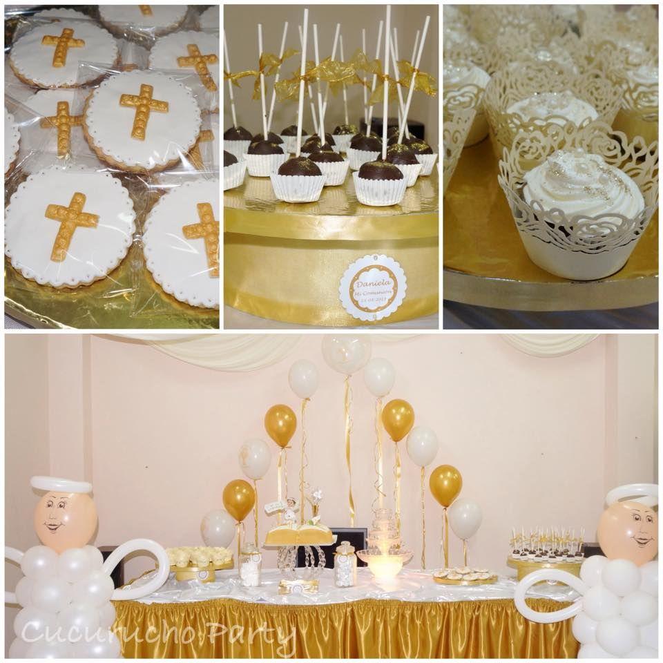Mesa dulce primera comuni n en dorado y blanco mesas - Decoracion en blanco ...