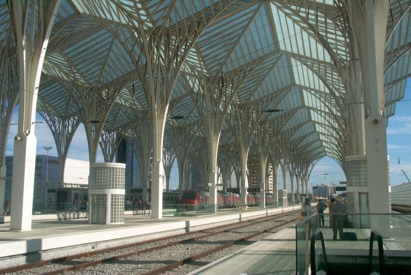 The Railway Station In Lisbon Has A Fibreglass Roof Supported On