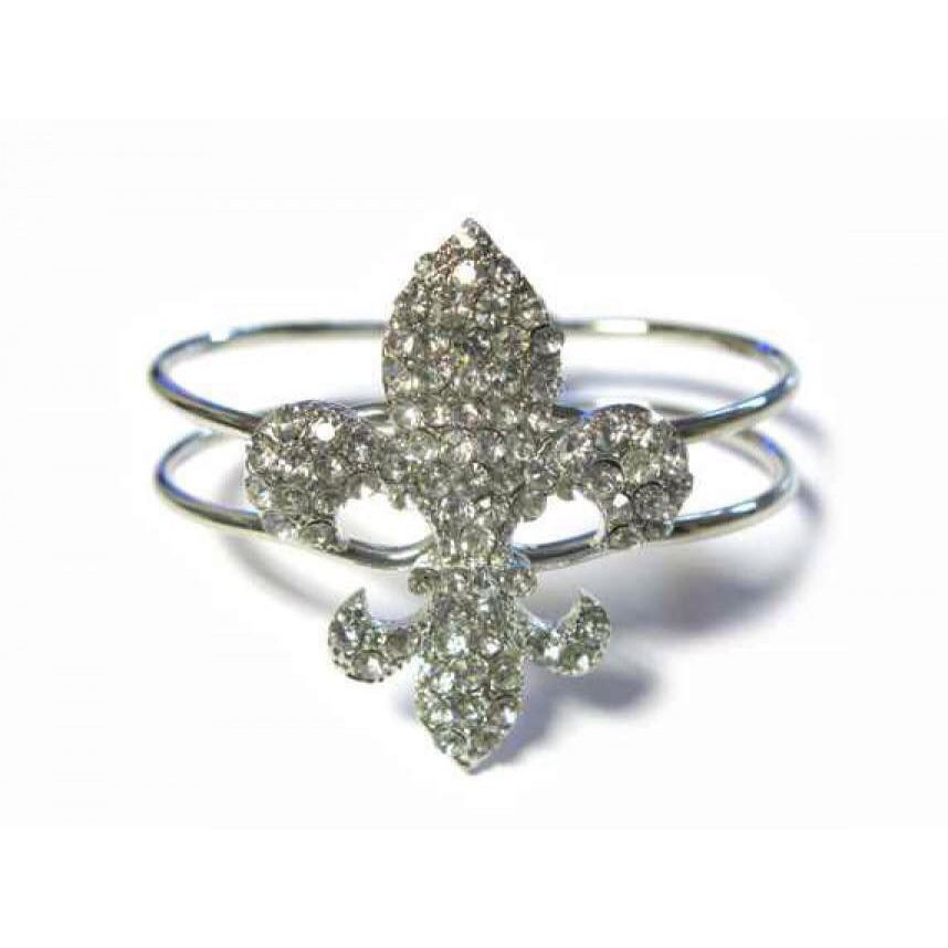 "RING FLEUR-DE-LIS Clear Crystal  1 1//4/"" Fleur De Lis CRYSTAL STRETCH RING"