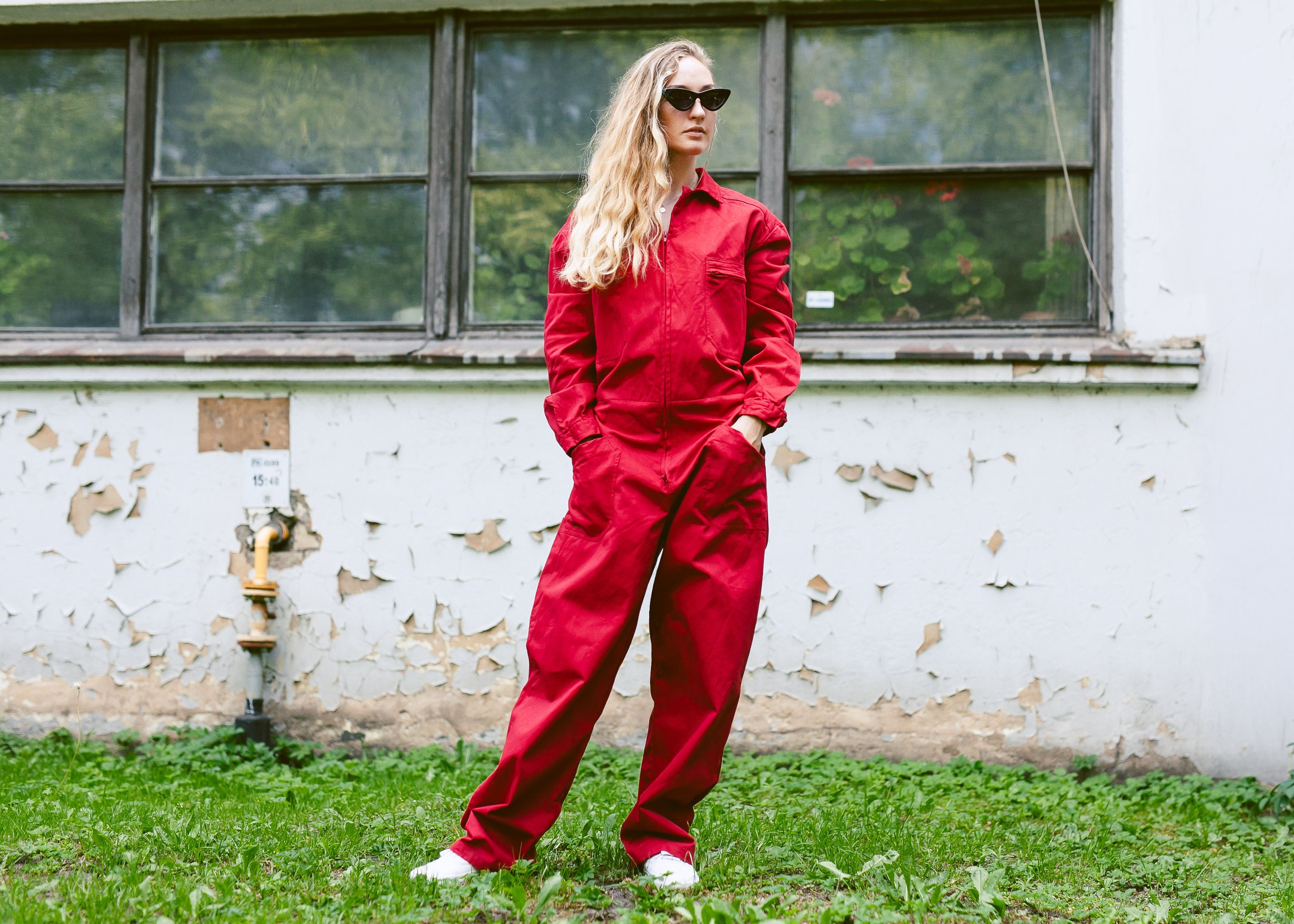 """WILSON 100/% COTTON RED 48/"""" boiler suit coverall Red Zip Front"""