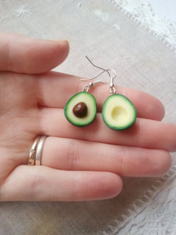Avocado stud earrings sterling silver miniature food jewelry polymer clay charm  friend gift for woman vegan jewelry