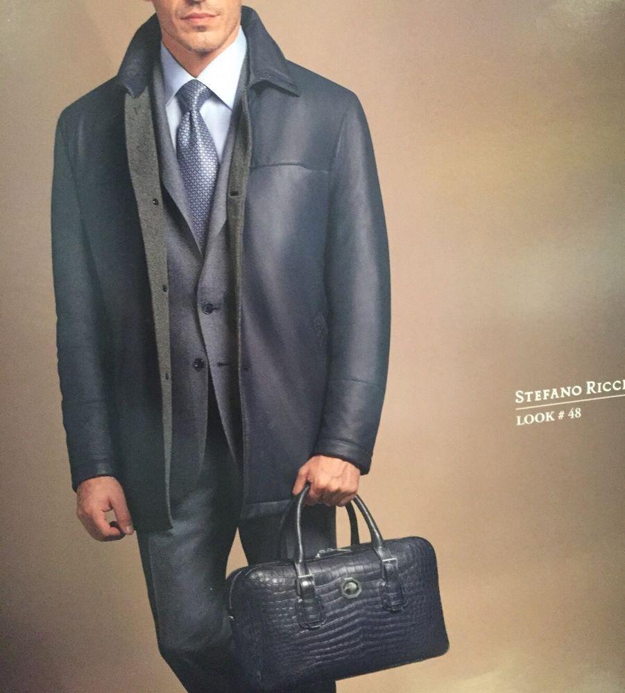 $29,950 stefano ricci leather jacket coat with crocodile cashmere IT 56 ~  zilli #Stefanoricci #