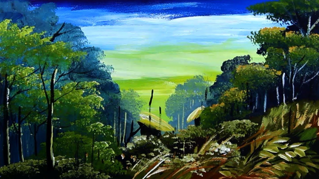 Landscape Nature Painting Forest Scenery Drawing Acrylic Tutorial Nature Drawing Nature Paintings Landscape Paintings Acrylic