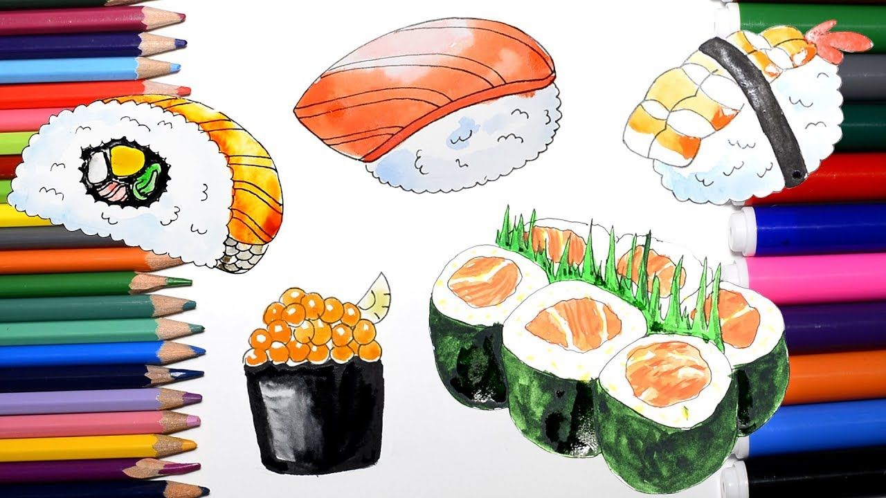 Coloring Pages for KIDS. Sushi Watercolor Painting | Drawing for ...