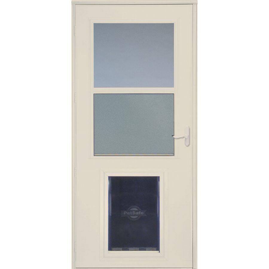 Larson Pet Door Xl Almond High View Wood Core Storm Door Common 32 In X 81 In Actual 31 75 In X 79 875 In Lowes Com Storm Door Aluminum Storm Doors Pet Door
