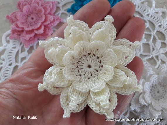 Crochet Flower Applique Scrapbooking Decorative Flower Decor Etsy In 2020 Crochet Flower Patterns Crochet Flowers Crochet Rose