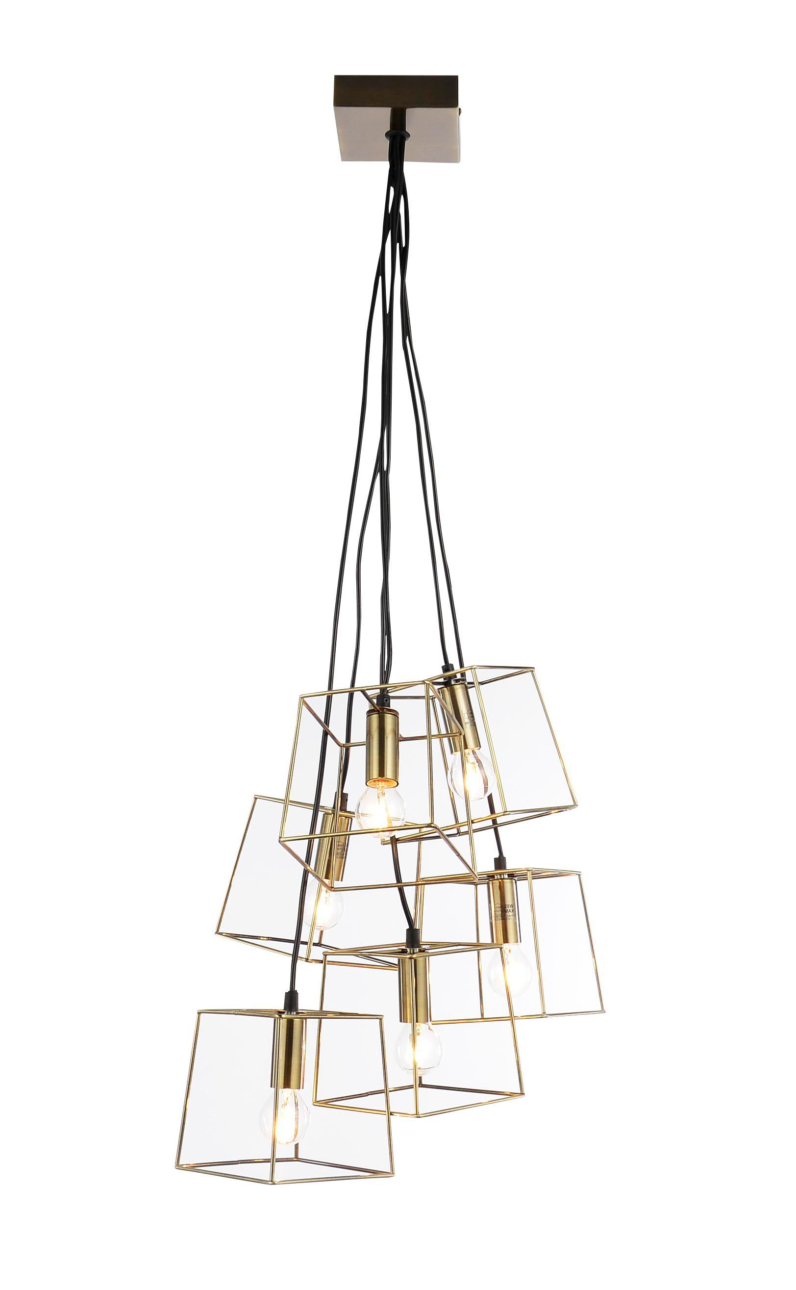 Jules Cube Cage Antique Brass Effect 6 Lamp Ceiling Light