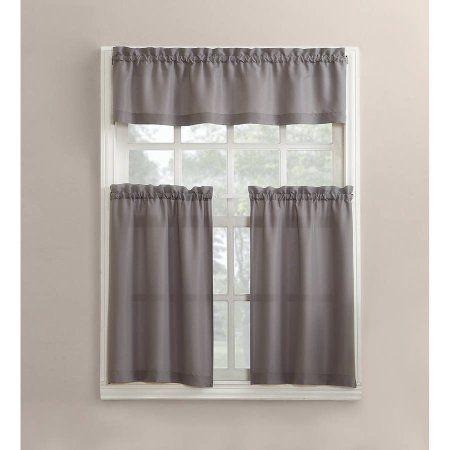 Mainstays Solid 3 Piece Kitchen Curtain Set Walmart Com Kitchen Curtain Sets Curtains Grey Kitchen Curtains