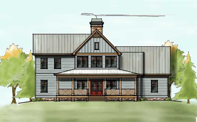 2 story house plan with covered front porch farmhouse for Two story porch house plans