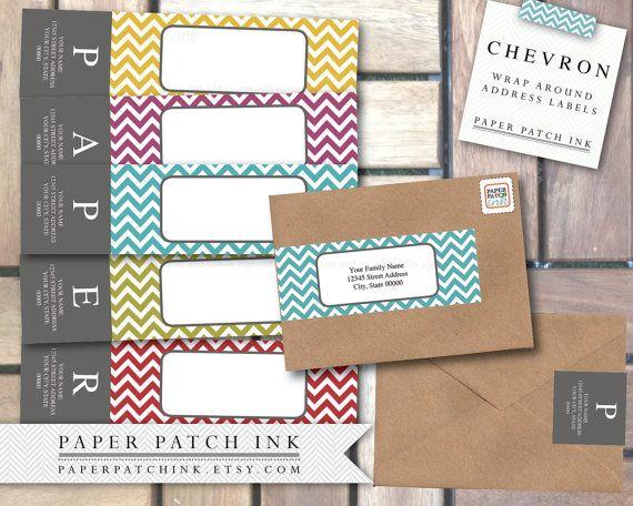 retro color chevron wrap around address label pdf template. Black Bedroom Furniture Sets. Home Design Ideas