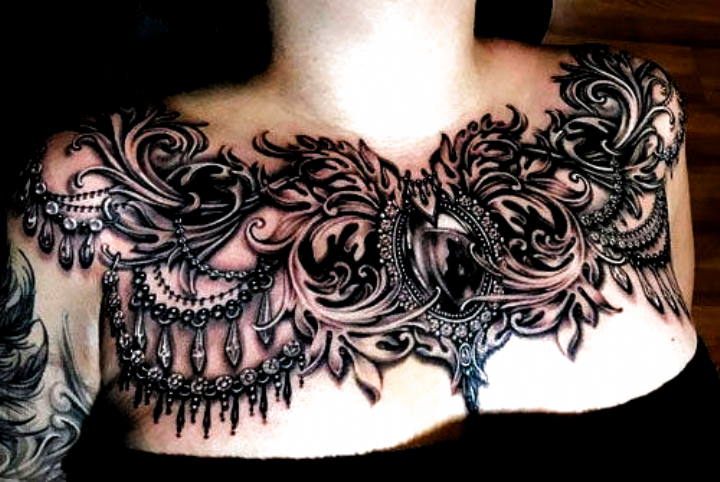Beautiful Full Chest Tattoos Best Chest Tattoos For Women Cute Female Chest Tattoo Ideas And De In 2020 Chest Tattoos For Women Tattoos For Women Cool Chest Tattoos