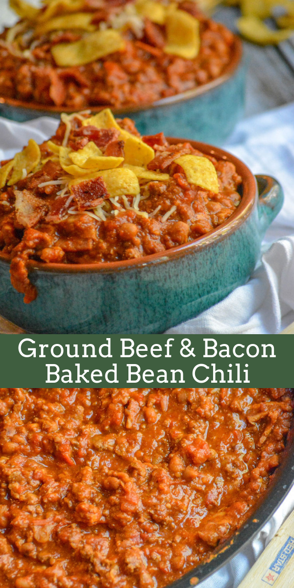 Crumbles Of Cooked Beef Crisp Bacon And A Baked Bean Base It Makes For An Amazing Chili Don T Knock It Until You Ve Tr No Bean Chili Beef Bacon Baked Beans