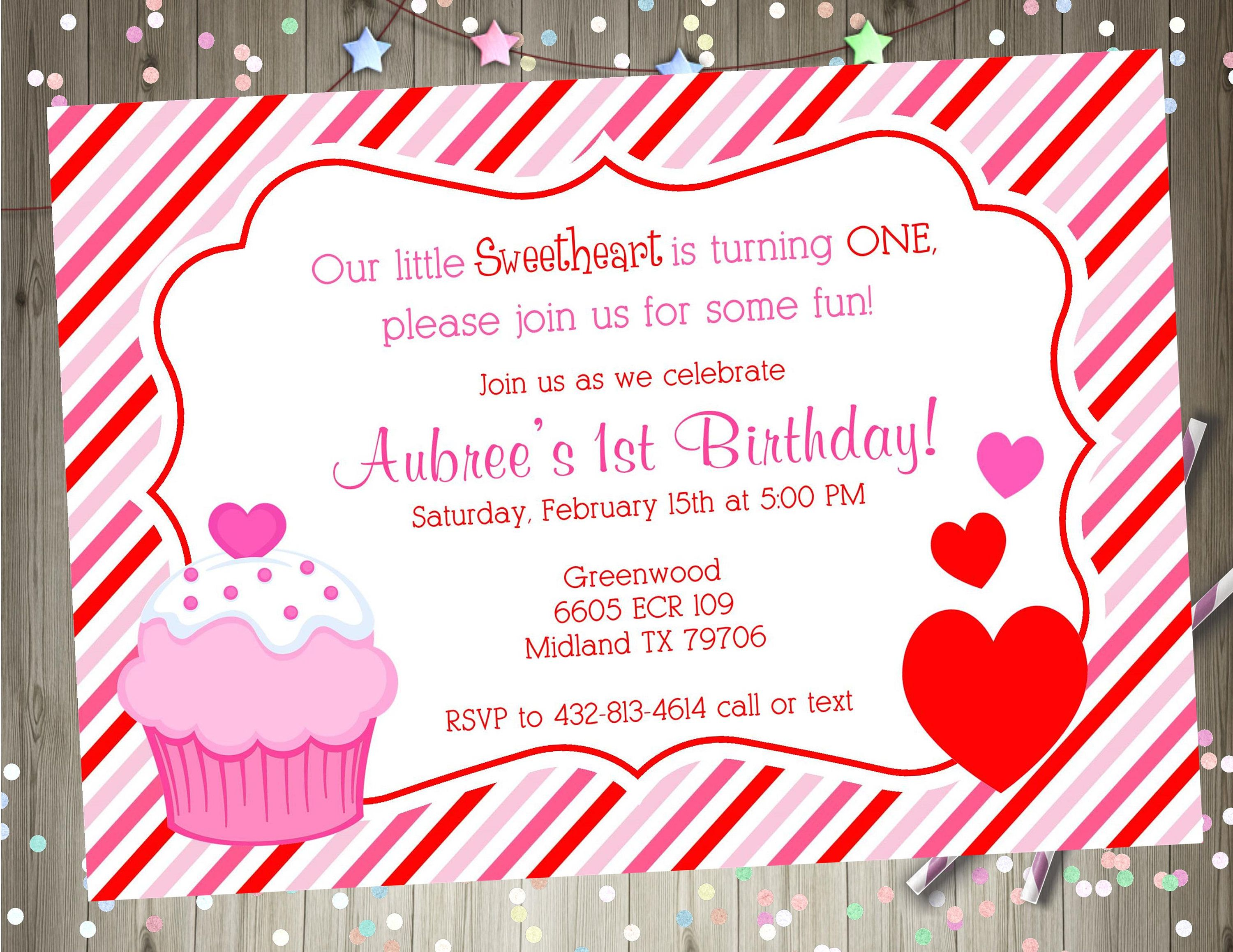 valentine birthday party invitation invite girl 1st birthday pink