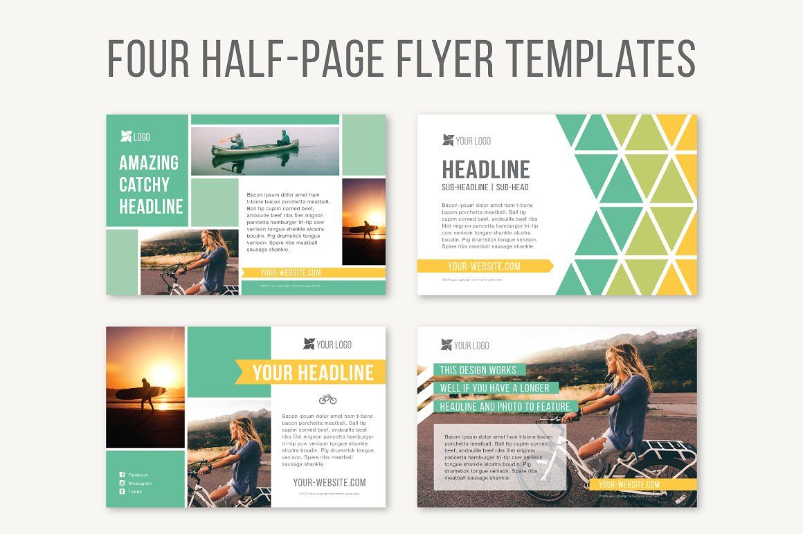 Four Half Page Flyer Templates With Images Flyer Template