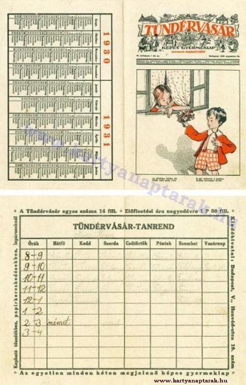 1930 - 1930_0009 - Régi magyar kártyanaptárak