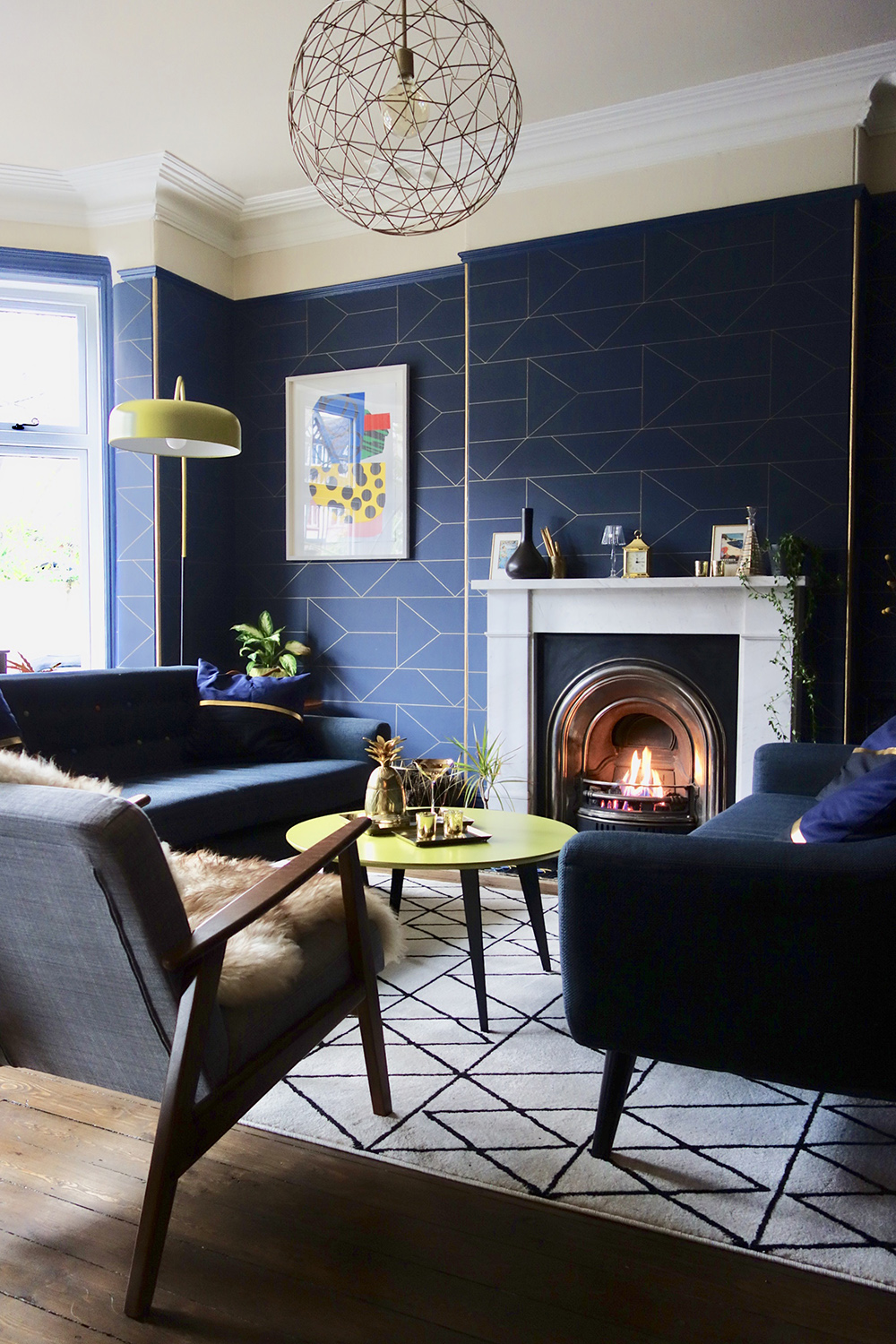 Geometric Navy Blue Wallpaper In A Contemporary Living Navy