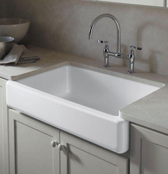 Kohler Whitehaven self-trimming apron-front single-basin sink. Cast ...