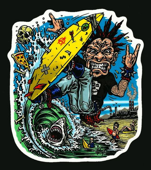 High quality full color shaped vinyl SURF PUNK sticker with artwork created by legendary extreme sports artist Jimbo Phillips, famous for his incredibly extensive line of graphics spanning from Santa Cruz Skateboards, Bell Helmets, Volcom and so much mor