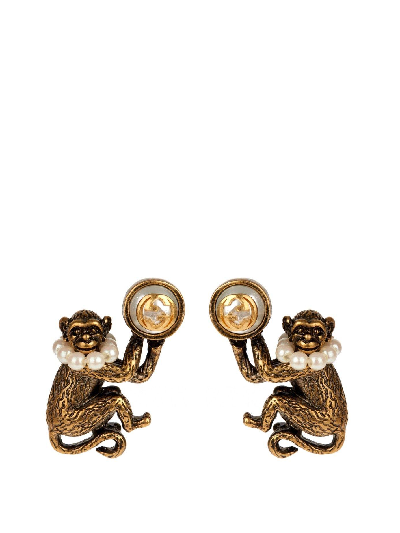 c6638aca988 Monkey brass and glass-pearl earrings